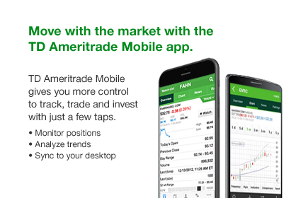 Move with the market with the TD Ameritrade Mobile app. TD Ameritrade Mobile gives you more control to track, trade and invest with just a few taps. Monitor positions Analyze trends Sync to your desktop