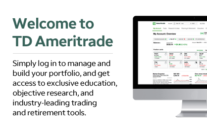 Welcome to TD Ameritrade Simply log in to manage and build your portfolio, and get access to exclusive education, objective research, and industry-leading trading and retirement tools.